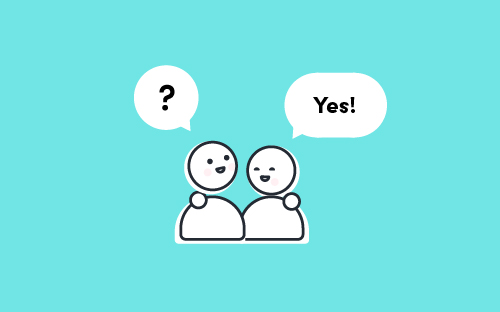 Two illustrated characters with their arms around each other, both have a speech bubble – one says, 'Yes!', the other is a question mark.