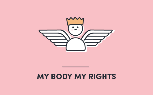 """A character with wings and a crown, suspended in the air. Text on the image reads, """"My Body My Rights'."""