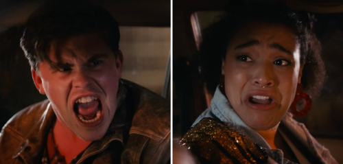 Split-frame of Euan yelling angrily, and Abby scared asking him to calm down.